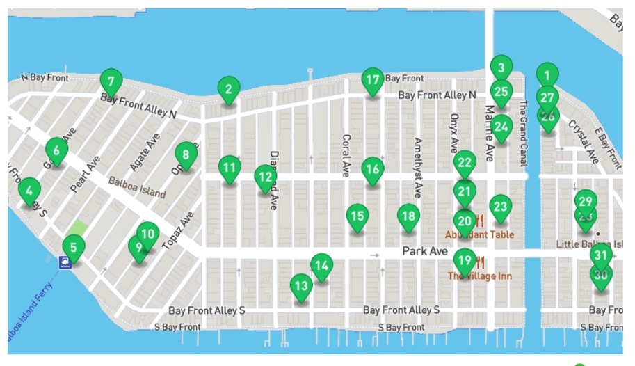 Balboa Island Garage Sale Community Wide Sale Map of Sellers