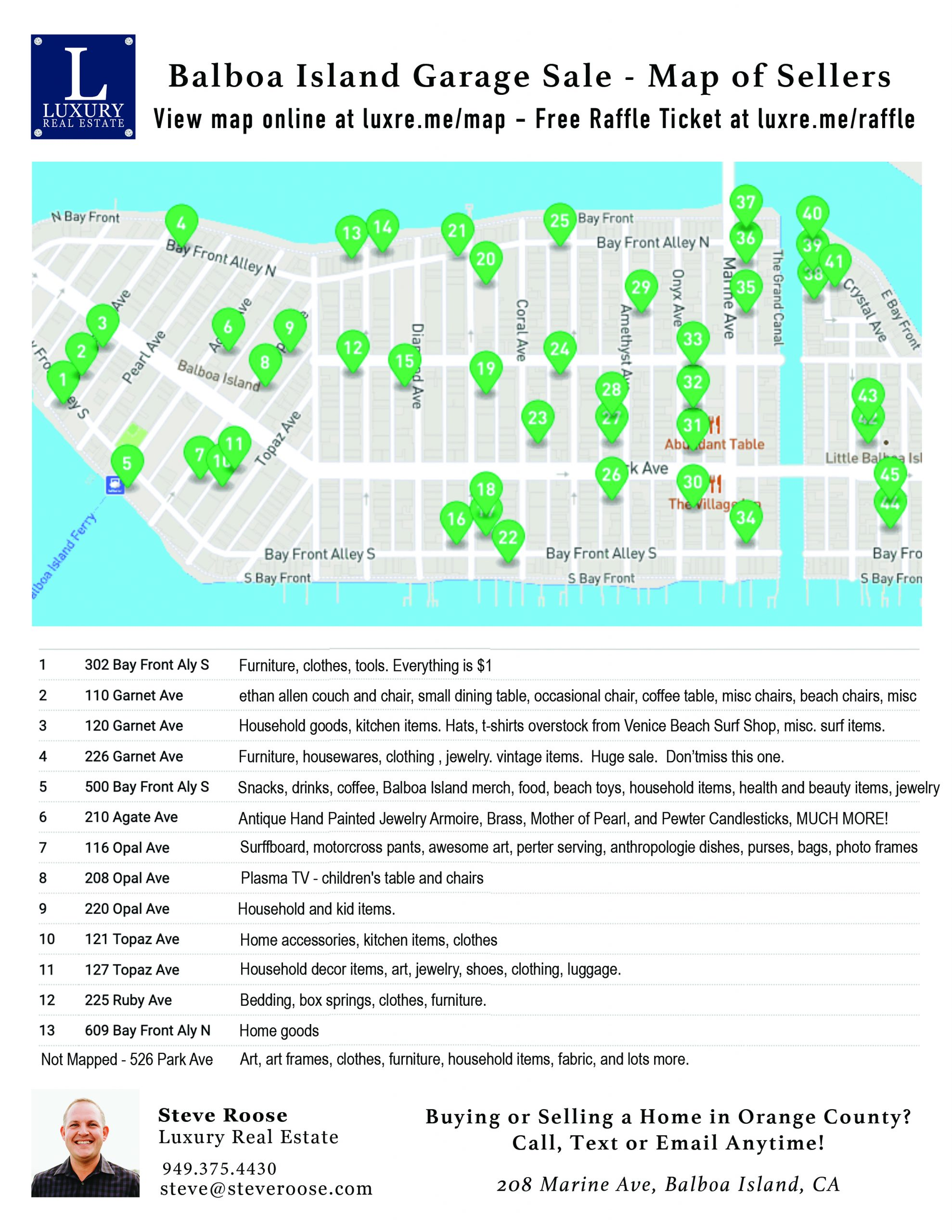 2021 Balboa Island Garage Sale - Map of Sellers - Front